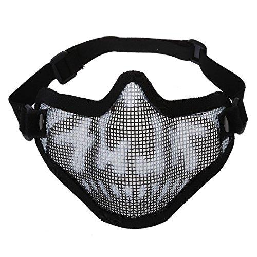 TOOGOO(R)Maschera Protettiva Mezzo Viso Camouflage Nero per Softair