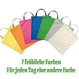 7 Stk. Premium Baumwolltasche Umhängetasche Stoffbeutel Beutel Shopper mit kurzen Henkel in verschiedenen Farben