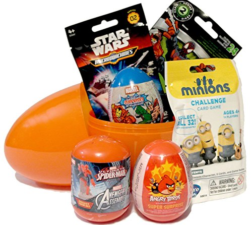JJCkids Kinder Geburtstag Toys Geschenk Set-Giant Überraschung Eier gefüllt mit Rollo Taschen und überraschen Eier, Angry Birds, Diener, Star Wars & Disney Marvel + T-Shirt