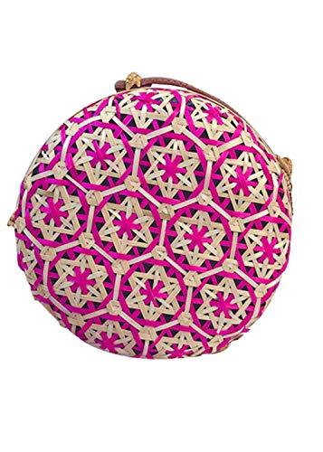 getasche Taschen Shoulder Bag Handtasche Schultertasche Satchel Schulter Rucksack,Kreis handgewebte Bali Runde Retro Rattan Straw Beach Multicolor Bag Crossbody ()