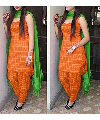 Gopinath Collections Women\'S Cotton Checkered Unstitched Patiala Suit(4321Orange_Orange)