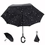 Parapluie Inverse, Innovant Double Couche Parapluie Inversé anse en C, YUMOMO anti tempete coupe vent et UV (Les étoiles)