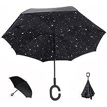 Paraguas invertido, Doble Capa C para un uso Libre de Manos, YUMOMO Dentro Fuera