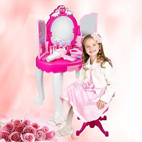 Cocoarm Playset Schminktisch mit Licht und Ton Fön geeignet für Kinder, und viele Accessoires 2-5 Jahre altes Mädchen Spielzeug