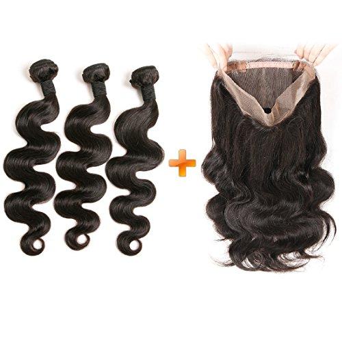 Daimer Lace Frontal 360 Closure avec 3 Tissage Bresilien frisé en lot Bouclé Virgin Cheveux Humains en lot pas cher Naturel 12 14 16 +10 inches