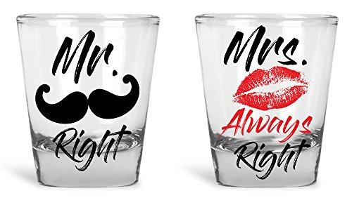 Hochzeit Geschenke-Mr. Right und Mrs. always Right Neuheit Shot Glas Set-Geschenk-Box-Verlobung, Hochzeit, Jahrestag, Urlaub Geschenke von Funny Bone Produkte (Urlaub Geschenk-sets)