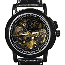 Orkina Mens Black Hollow Dial Mechanical Quartz Leather Strap Wrist Watch MG015LBB