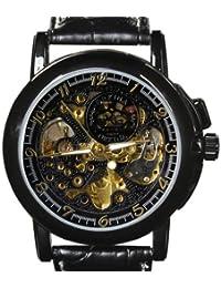 Para hombre Orkina Negro Funda de esqueleto hueca esfera mecánica reloj con correa de piel