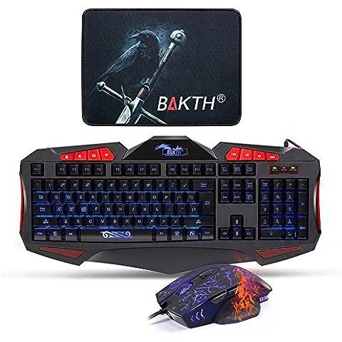 BAKTH Gaming Teclado y Ratón Set LED (Ajustable 3 colores de retroiluminación / USB / QWERTY Inglés / 2400DPI )