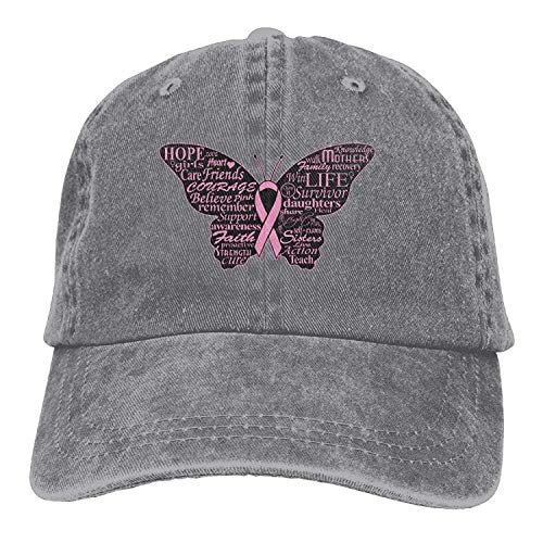 Zhgrong Caps Men and Women Pink Ribbon Butterfly- Breast Cancer Vintage Jeans Baseball Cap Fitted Kappen -