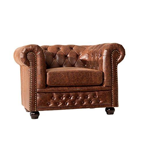 Chesterfield Design Sessel'Manchester' | 105x70x85 cm, Spaltleder, Vintage Braun | Ledersessel