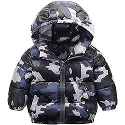 Blouson Bébé Garçon Hiver À Capuche Manteau Camouflage Doudoune De Veste Épais Chaud Enfants Veste Survêtement Vêtements BaZhaHei(18 Mois,Gris)