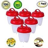 Bollitore per uova Bollitore per uova bollito Hard & Soft Bollitore per uova in silicone, Senza guscio, Silicone antiaderente, Senza BPA, Bollito, Vapore, Portauova, Bracconieri per uova, Set di 6 pacchi