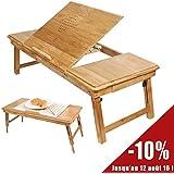 SoBuy FBT04-L-N Aussi convenable pour Gauchers! Table de lit pliable PC portable, iPad et repas en bambou naturel, Avec un Set de Table gratuit