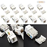 LeaningTech 10 Pcs CAT6 RJ45 Keystone Jack Inline Coupler No Punch Down Tool Gold Plated Network Connector