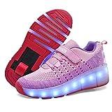 MNVOA Unisex Kinder Mode LED Schuhe mit Rollen Drucktaste Einstellbare Skateboardschuhe Outdoor Gymnastik Turnschuhe Für Junge Mädchen