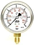 JRA-Longlife-Glyzerin-Manometer 0-6 bar/psi NG63 Anschluss unten G1/4