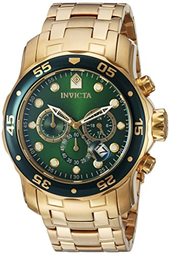 Invicta Men's Pro Diver Quartz Watch with Green Dial Chronograph Display and Gold Plated Bracelet 0075