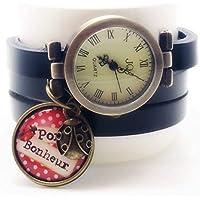 montre bracelet cuir 3 rangs cabochon bronze illustré vintage, coccinelle, porte bonheur, noir