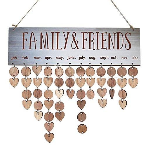 Gosear Wand Hängen Geburtstag Jahrestag Holz Kalender DIY Zeichen Spezielle Termine Planer Board Familie Home Dekor Familie Freund A (Kalender Zeichen)