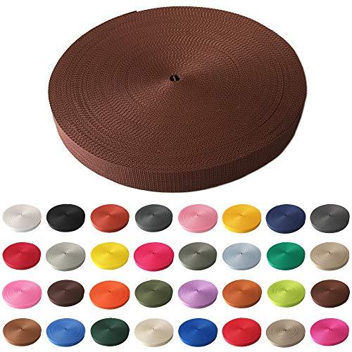 Schnoschi Gurtband Polypropylen 2 Meter lang - viele Verschiedene Breiten und Farben 10mm 15mm 20mm 25mm 30mm 40mm 50 mm (kastanienbraun, 15 mm) -