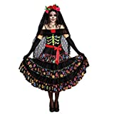 Dreamgirl La Catrina Kostüm, Gr. XXL, Kleid Mexikanerin Halloween Fasching Lady of The Dead