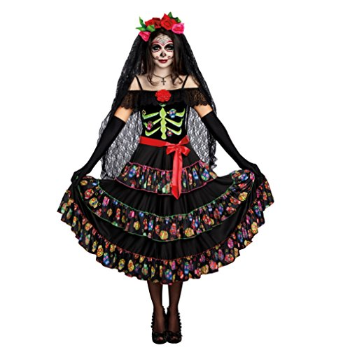 Kleid Catrina Kostüm La - Dreamgirl La Catrina Kostüm, Gr. XXL, Kleid Mexikanerin Halloween Fasching Lady of The Dead