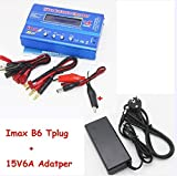 Shrinika B6 80W 6A Battery Charger Lipo NiMh Li-ion Ni-Cd Digital RC Balance Charger Discharger + 15v 6A Power Adapter+Charge Cable(B6 T and Adapter)