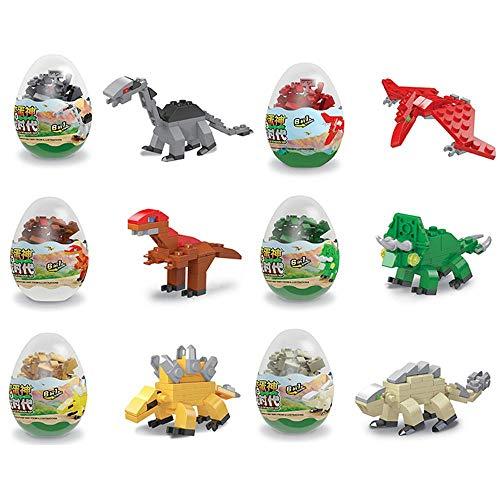 seier, 12 Stück Ostereier mit vorgefüllten Bausteinen, DIY-Dinosaurier-Spielzeug, frühzeitiges Lernspielzeug für Kinder, Jungen, Mädchen, Ostergeschenke, Osterkörbchen Füller ()