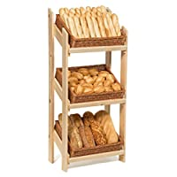 Prestige Wicker Retail Display Floor Stand with Baskets, Wood, Natural, 62 x 36 x 136 cm