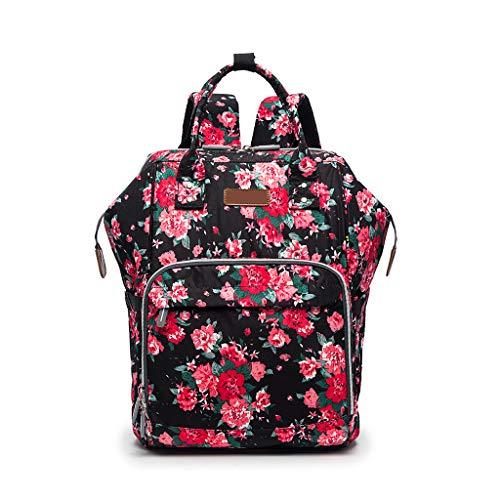 Bogji - Floral Windelrucksack für Mama Große Kapazität Mutterschaft Baby Bag Multi Function Organizer mit Kinderwagen Straps - Floral Drawstring Shoulder Bag