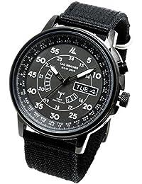 [LAD WEATHER] Funk-Solar Analog Uhr Radio controlled Zeitkorrektur Ewiger Kalender Herren Nylon Armbanduhr