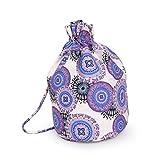 Kingko® Unisex retrò zaini geometriche borsa morbida coulisse modellato il tempo libero viaggio zaino iuta sport scolastico per le donne ragazza adolescente (Viola)