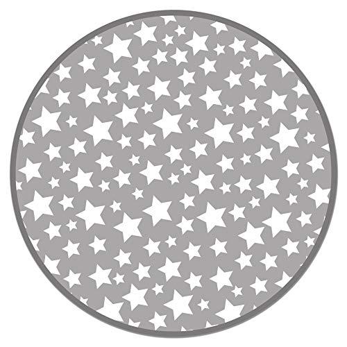 Panorama Alfombra Vinílica Infantil Estrellas Gris Redonda 100x100cm - Alfombra Cocina Vinilo - Alfombra...