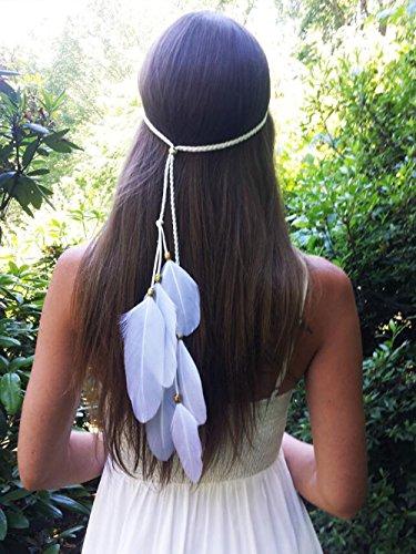 Yean Kopf Kette Kopf Kleid indischen Stil Feder für Frauen und (Kostüm Indische Kopfschmuck Diy)