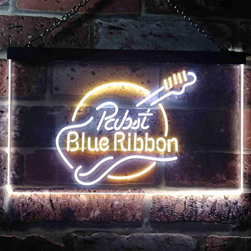 zusme Pabst Blue Ribbon Novelty LED Neon Sign White + Yellow W40cm x H30cm