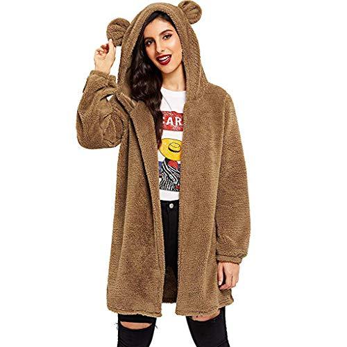 Finebo, felpa da donna con cappuccio e orecchie di orso chic a maniche lunghe, marrone, M
