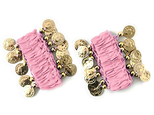 MBW Belly Dance Handkette Armband Handschmuck Armbänder mit goldfarbenen Münzen (Paar) in rosa