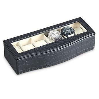 Présentoir coffret boîte à montres rangement pour 6 montres noir ou marron optique cuir