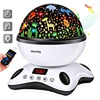 Moredig Baby Light Projector, Remote Control and Timer Design Rotating Night Light, Built-in 12 Songs and 8 Colorful Light Modes for Baby Kids Children's Bedroom - Black White