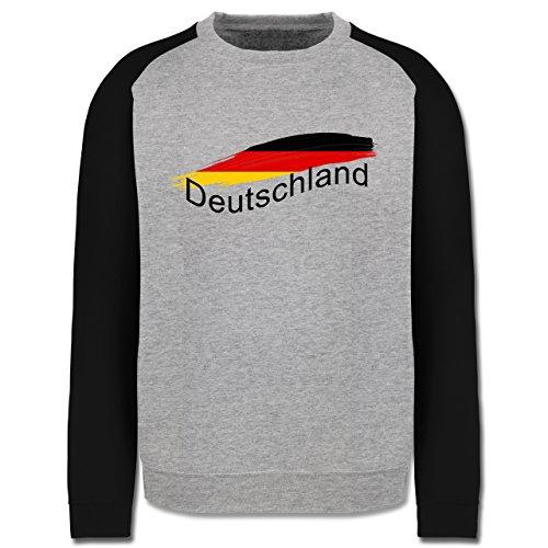 Länder - Deutschland - Herren Baseball Pullover Grau Meliert/Schwarz