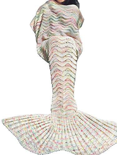 YiZYiF Handgemachte Meerjungfrau Decke Fleece Sofadecke Schlafsack Mermaid Blanket Kostüm für Kinder Mädchen (Einheitsgröße, Gestrickt Grau-Weiß (Damen))