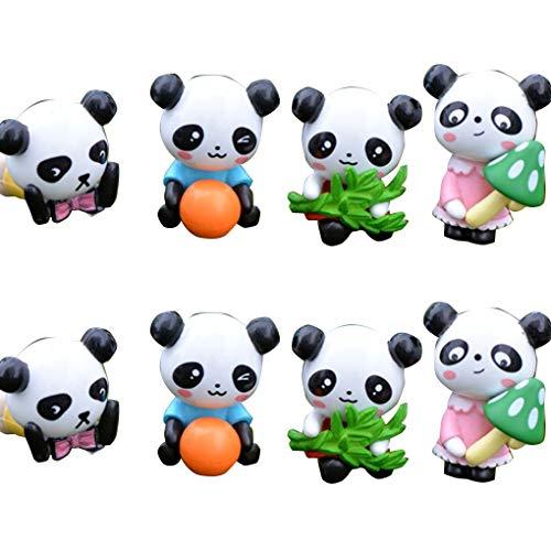 8pcs / Set Mini PVC Miniatur Panda Figurine Cartoon-Charakter Tier-Statue Landschaftsgarten Kleine Handwerks-Verzierung fgyhty