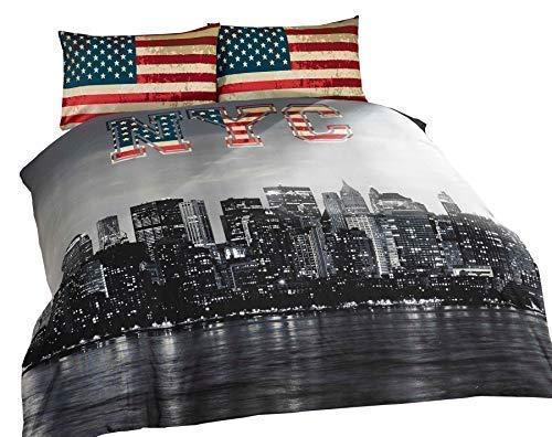 2 X New York City Amerikanischer Blau Umkehrbar Baumwollmischung Doppel Bettbezüge (Bettbezug New York City)