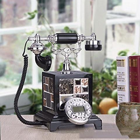 25 * 23 * 29cm processo di processo di mosaico resina creativo di nero rotto argento vintage retro telefono fisso di casa ornamenti decorativi
