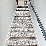 Stickers Escalier 3D Pvc Créatif Simple 13Pcs / Set Blanc Gris Marque Escalier Autocollants Étape Autocollants Stickers Muraux...