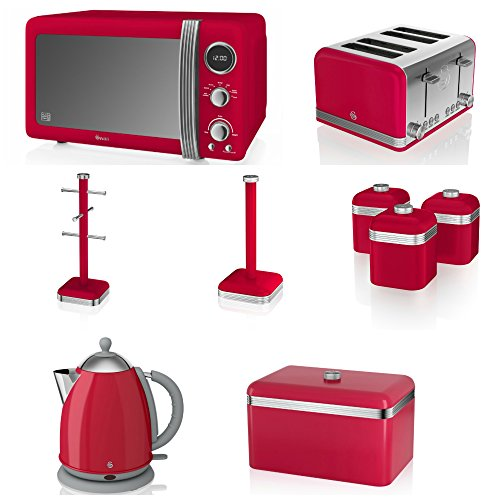 Swan Red Kitchen Appliance Retro Set Of 9 - Retro Red Digital Microwave, 20 Litre, 800 Watt, Red 1.7 Litre Jug Kettle & Retro Stylish 4 Slice Toaster Retro Bread Bin, 3 Canisters, Towel Pole And 6 Mug Tree Set