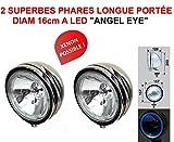 LCM2014 Angel Eye! 2 Superbes PHARES 16CM Longues PORTEE avec CERCLAGE LED ! Serie Limitee CHROMEE Verre Blanc ! Raid Preparation 4X4 Hella Oscar LIGHTFORCE CIBIE KCLITE