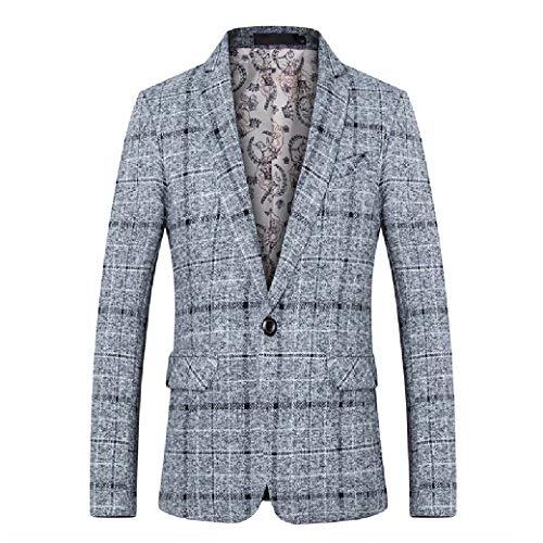 CuteRose Men Classic Plaid Tailored Fit Casual Business PEA Coat Blazer Grey L Tall Classic Peacoat