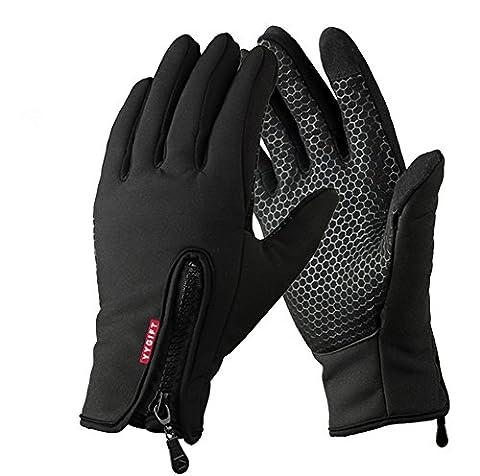 Yygift Gants sport pour extérieur compatibles écran tactile Gants d'hiver coupe-vent pour homme et femme, noir,